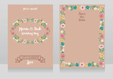 Two wedding cards in folkloric style Stock Images