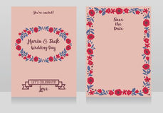Two wedding cards in folkloric style. Flowers design, vector illustration Royalty Free Stock Photo