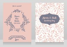 Two wedding cards with twigs and dots. Two wedding cards with  twigs and dots, romantic style, vector illustration Royalty Free Stock Images