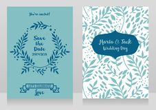 Two wedding cards with twigs and dots. Two wedding cards with  twigs and dots, romantic style, vector illustration Royalty Free Stock Photos