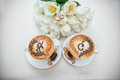 Two wedding coffee cups on the table Stock Photography