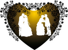 Two wedding couples silhouette in heart Royalty Free Stock Photos