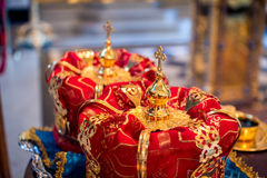 Two wedding crowns in church Stock Photography