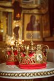 Two wedding crowns in the church Royalty Free Stock Photos