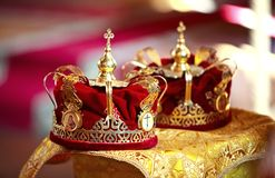 Two wedding crowns in the church. Russia Stock Photography