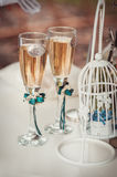 Two wedding glasses with champagne Royalty Free Stock Photography