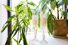 Two wedding glasses with champagne Stock Photo