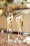 Two wedding glasses. close-up Royalty Free Stock Image