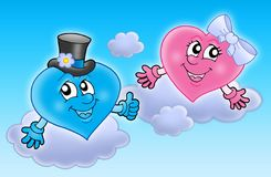 Two wedding hearts on sky. Color illustration Royalty Free Stock Photo
