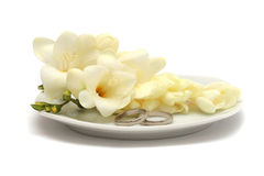 Two wedding platinum rings and white flowers. Two wedding platinum rings and flowers on a white plate Stock Images