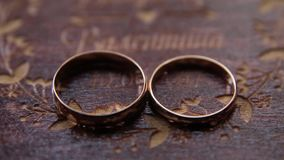 Two wedding rings. Two wedding ring in wooden box. Wedding concept. Wedding concept stock video