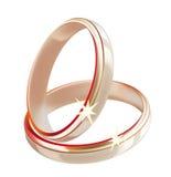 Two wedding rings Stock Photos