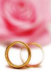 Two wedding rings. Two  wedding rings and pink rose at the background Royalty Free Stock Images