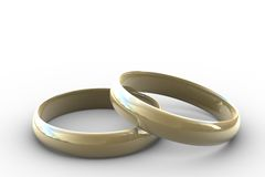 Two wedding rings. 3d - two wedding rings on white background Stock Image