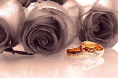 Two wedding rings. With tree roses as a background rendered royalty free stock photography