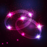 Two wedding rings beautiful bright stars Royalty Free Stock Photos