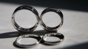 Two wedding rings. stock footage