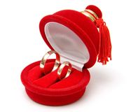 Two wedding rings in box Stock Images