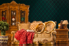Two wedding rings on couch Royalty Free Stock Photo