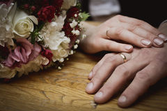 Two wedding rings Stock Photos