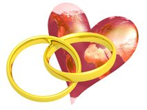 Two Wedding Rings with Earth Royalty Free Stock Photos