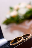 Two wedding rings on flowers background. Two wedding rings on blurred flowers background Royalty Free Stock Photo