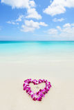 Two wedding rings in a heart lei on beach vacation Royalty Free Stock Photography