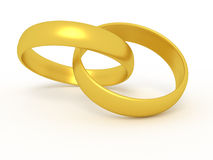 Two wedding rings. Illustration of two connected wedding rings  on white Royalty Free Stock Photo