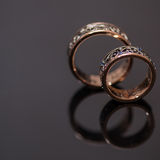 Two wedding rings in infinity sign. Love concept Royalty Free Stock Image