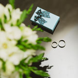 Two wedding rings in infinity sign. Love concept Stock Images