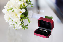 Two wedding rings in nice box Stock Photo