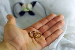Two wedding rings on the palm Royalty Free Stock Image