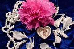 Two wedding rings and Peony flower. Royalty Free Stock Photography