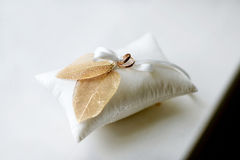 Two wedding rings on a pillow Stock Image