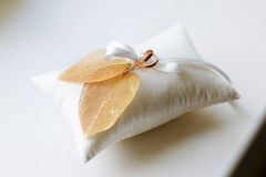 Two wedding rings on a pillow Stock Photography