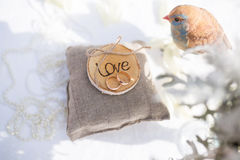 Two wedding rings on the pillow with love Stock Images