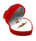 Two wedding rings in red box Stock Photography