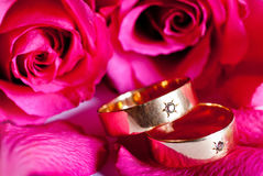 Two wedding rings with red rose Royalty Free Stock Photography