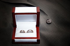 Two  wedding rings in wedding ring box on the grey suit Stock Image