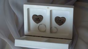 Two wedding rings in a white box with hearts stock video