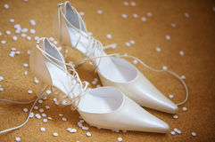 Two wedding shoes royalty free stock photo