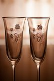 Two wedding Wine Glasses. With rings stock images