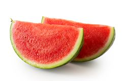 Two wedges od seedless watermelon isolated on white. With rind royalty free stock photo