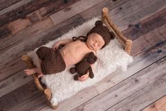 Newborn Baby Boy Wearing a Bear Bonnet. Two week old newborn baby boy wearing a brown, crocheted, bear bonnet. He is sleeping on a tiny, wooden bed and cuddling royalty free stock images