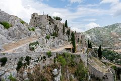 Two Weeks in Croatia - Klis Fortress. Two Weeks in Croatia - at the Klis medieval Fortress near Split royalty free stock photo