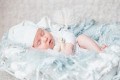 My Best Friend. Baby sleeping with bear royalty free stock photography