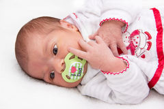 Two weeks old baby girl lying in bed Royalty Free Stock Image