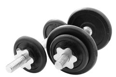 Two weights of gymnastics. Two dumbbells of gym to be in good shape trimmed and isolated Royalty Free Stock Photo