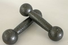 Two weights of one kilo each for training. Two weights of one kilo each for home or jim training stock photography
