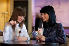 Two wemen in cafe Royalty Free Stock Photo